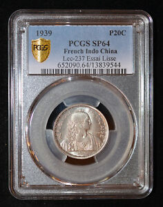 PCGS SP64 1939 French Indo China Pattern 20 Cents Essai