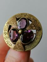 Victorian Brooch Amethyst Paste Stone Pinchbeck Etched Old Antique Purple Pin