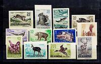ROMANIA 1956 - ANIMALS, HUNTING, IMPERFORATE, FULL SET, MNH, ORIGINAL GUM, VF