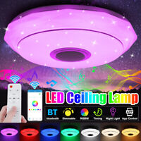 100W Smart LED Ceiling Light Lamp RGB Bluetooth Music Speaker Dimmable