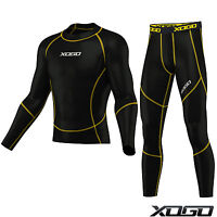XOGO Mens Compression Armour Base layer Top Skin Fit + compression Leggings set