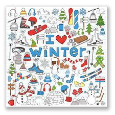 2 X I Love Invierno pegatina de vinilo Ipad Laptop Auto Casco Kids Snowboard Ski # 4460