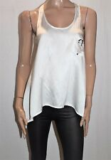 ANGEL WINGS Designer White Enlightened Silk Tank Top Size 10 BNWT #SV77