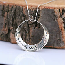 """925 Sterling Silver Necklace Infinity Love Circle """"I love you..I love you more"""""""
