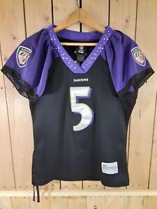 Baltimore Ravens NFL Football Jersey Girls Sz Med Reebok Purple Black Flacco
