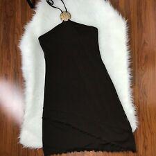 Moda International Womens XS Brown Dress Halter Bodycon