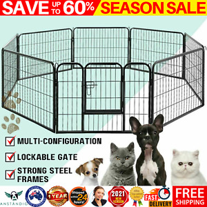 80 x 60cm 8 Panel Pet Dog Playpen Puppy Exercise Cage Enclosure Fence Play Pen
