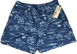Op. ~Men's Size XL/XG (40-42)~ Blue/Gray Floral Print Swim Shorts NWT.