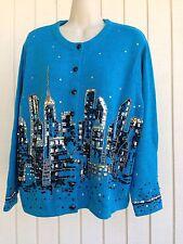 DESIGN OPTIONS Philip & Jane Gordon City Scape Skyline Lights Sweater Blue XL