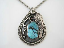 """Sterling Turquoise Necklace Stamped Feather Pendant  23"""" Chain 28g"""
