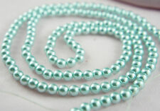 140pcs 6mm Sky Blue/Aqua Color Faux Imitation Acrylic Round Loose Pearl Beads