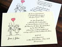 50 Personalised Handmade Wedding Invitations Day Evening Bride Groom RSVP NEW