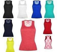 Ladies Racer Lace Back Floral Print Muscle Vest Tunic Top Sexy Summer Top Shirt