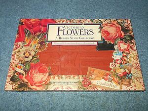 VINTAGE RUBBER STAMPEDE VICTORIAN FLOWERS RUBBER STAMPS - SET OF 19 - NEW IN BOX