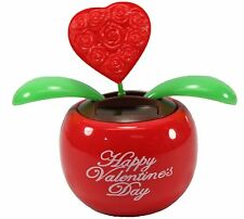 Lovers' Gift ~1 Red Heart in Red Pot Solar Toy Valentine's Day Flowers US Seller