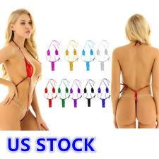 US Women's Backless Slingshot G-string Mini Bikini Monokini Nightwear Swimwear