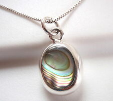 Reversible Abalone and Mother of Pearl 925 Sterling Silver Oval Pendant