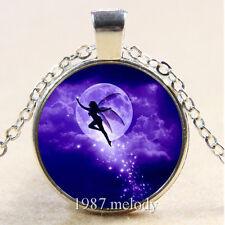 New Cabochon Glass Silver/Bronze/Black Chain Pendant Necklace (purple fairy)