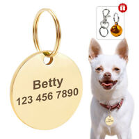 Gold Round Personalised Stainless Steel Pet Cat Dog Tags Disc Disk Name Engraved