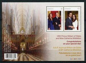 Canada Royalty Stamps 2011 MNH Royal Wedding Prince William & Kate 2v M/S