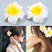 KQ_ BL_ 2Pcs Hawaiian Plumeria Foam Flower Hair Clip Travel Beach Party Decor Ca