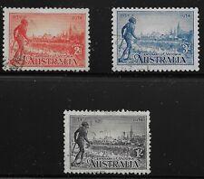 Australia Scott #142-44, Singles 1934 Complete Set FVF Used