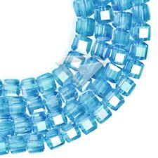 100pcs Crystal Beads Cube Square Loose DIY Jewelry AB Light Capri Blue 4mm