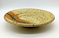 """Vintage 8"""" Brown Speckled 2-Cup Shallow Studio Pottery Bowl, Signed, VG Cond."""