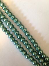 "15-16"" Seafoam Green 6mm Round Glass Pearls Beads L@@K SALE"