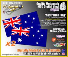 Australian Flag Premium Laminated Stickers (x2) - Car, Window, Truck, Caravan
