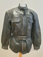 R937 MENS INDIAN ANGEL BLACK LEATHER MOTORCYCLE JACKET UK L 42 EU 52
