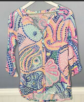 Lilly Pulitzer Egret Henley 3/4 sleeve Top Tile Wave Size XS