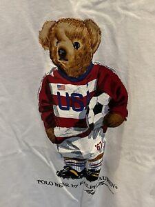 "NWT Polo Ralph Lauren USA ""Soccer Bear"" White  2XB"