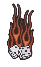 Flaming Dice Embroidered Patch Large F013P Biker Tattoo Harley Davidson