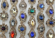 45pcs Mixed Lots Trendy Jewelry Rhinestone Ring Lady's Glass Alloy Rings EH427