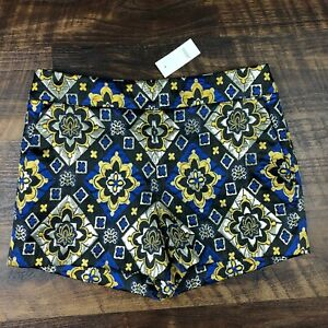 NWT Ann Taylor LOFT Synthetic Shimmer Bloom Shorts Blue sz 2 Womens Dress Shorts