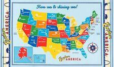 UNITED STATES MAP fabric panel EXPLORE AMERICA ROBERT KAUFMAN FABRIC BTP NEW