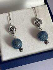 Carolyn pollack carved bead drop dangle earrings for pierced ears ladies
