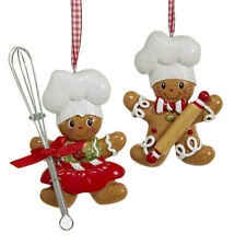 Baking Helpers Gingerbread Cookie Christmas Ornaments, 3-1/2-Inch, 2-Piece