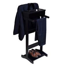 Black Wood Suit Valet Stand Clothes Rack Men Hat Rack Garment Organizer Wardrobe