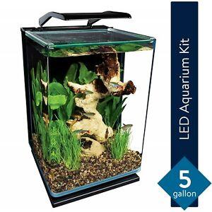 Aquarium Kit, 5 Gallons, Hidden Filtration Marineland Portrait Glass LED