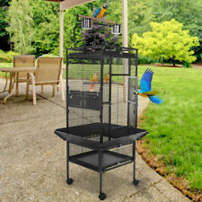 "61"" Large Elegant Wrought Iron Play Top Parrot Macaw Cockatoo Bird Cage Black"