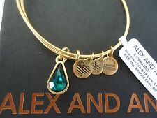 Alex and Ani MAY EMERALD TEARDROP Rafaelian Gold Charm Bangle New Tag Card & Box