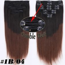 Real Thick Clip in Remy Human Hair Extensions Double Weft 130-200G US SHIP SU453