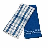 Ralph Lauren Home Absorbent Cotton Oversized Kitchen Towels Set of 2 Blue Plaid