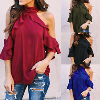 Womens Halter Neck Blouse Short Sleeve Ruffles Tops Ladies Loose T-shirt Vest