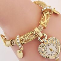 Women's Love Heart Bracelet Watch Charm Band Analog Quartz Wrist Watch Gifts