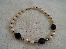 Goldtone Black White Bead Necklace (C7)