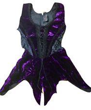 Raven Gothic Vittoriano Velluto Viola Top Con Peplo ra13a Taglia L