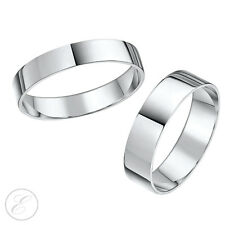 9ct White Gold His & Hers Flat Court Wedding Ring Bands 3&6mm